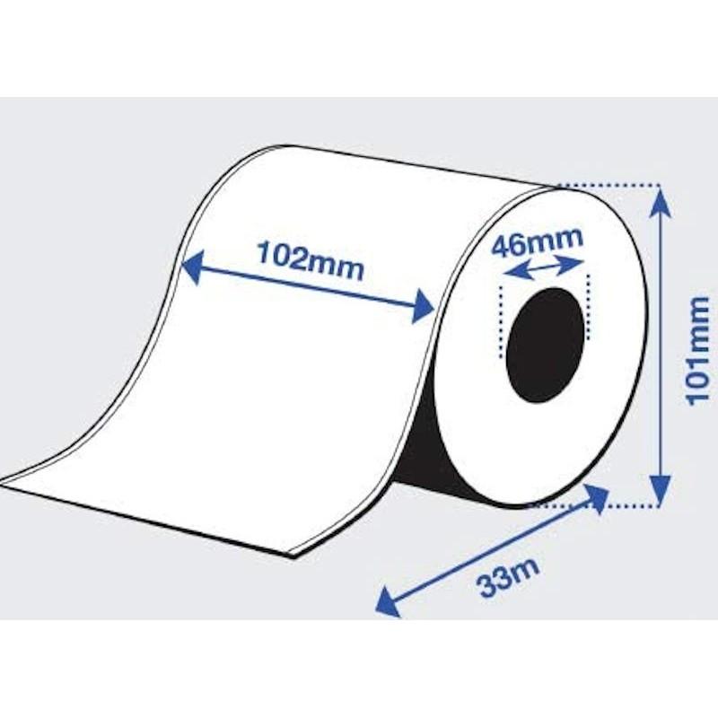 102 mm x 33 m Rouleau étiquettes pour imprimantes Epson C3500  Citizen PMU2200II/2300II Imprimante Tickets pour Kiosques